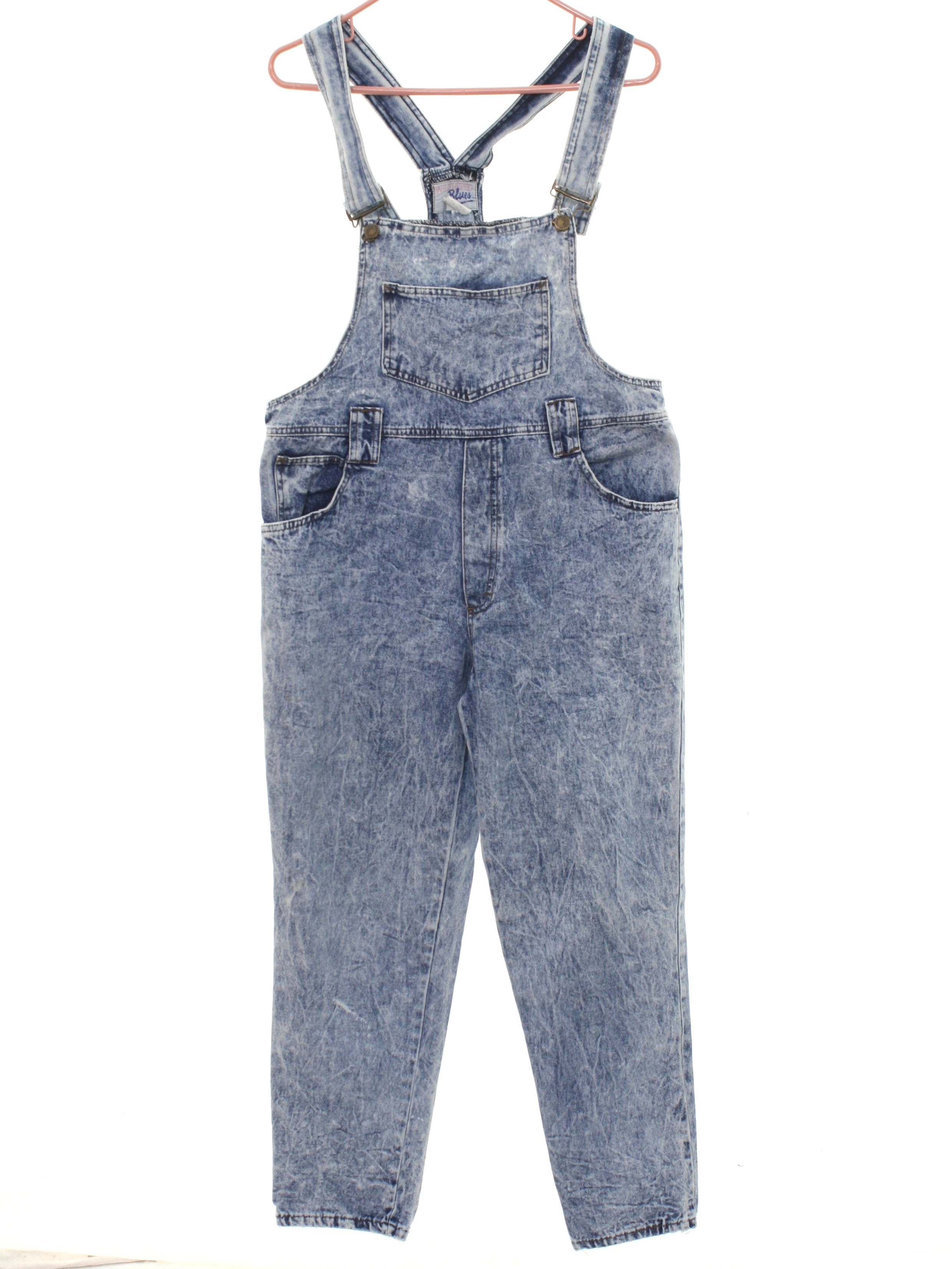 1980's Weathered Blues Womens Totally 80s Acid Washed Denim Overalls