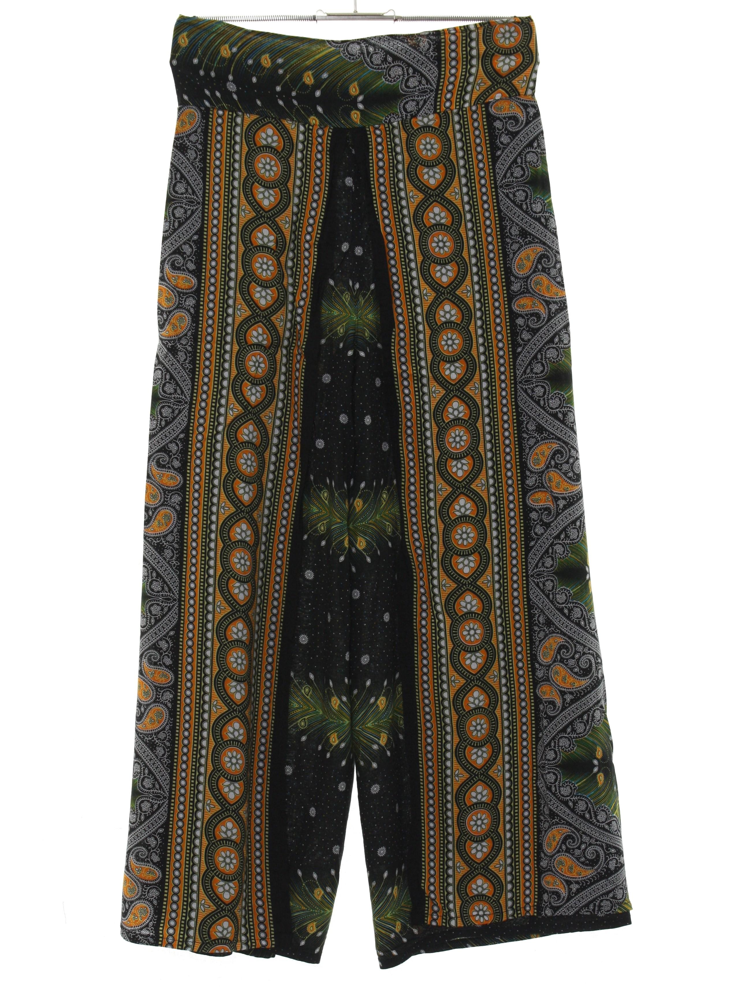 Vintage 1970s Hippie Wrap Around Striped Skirt