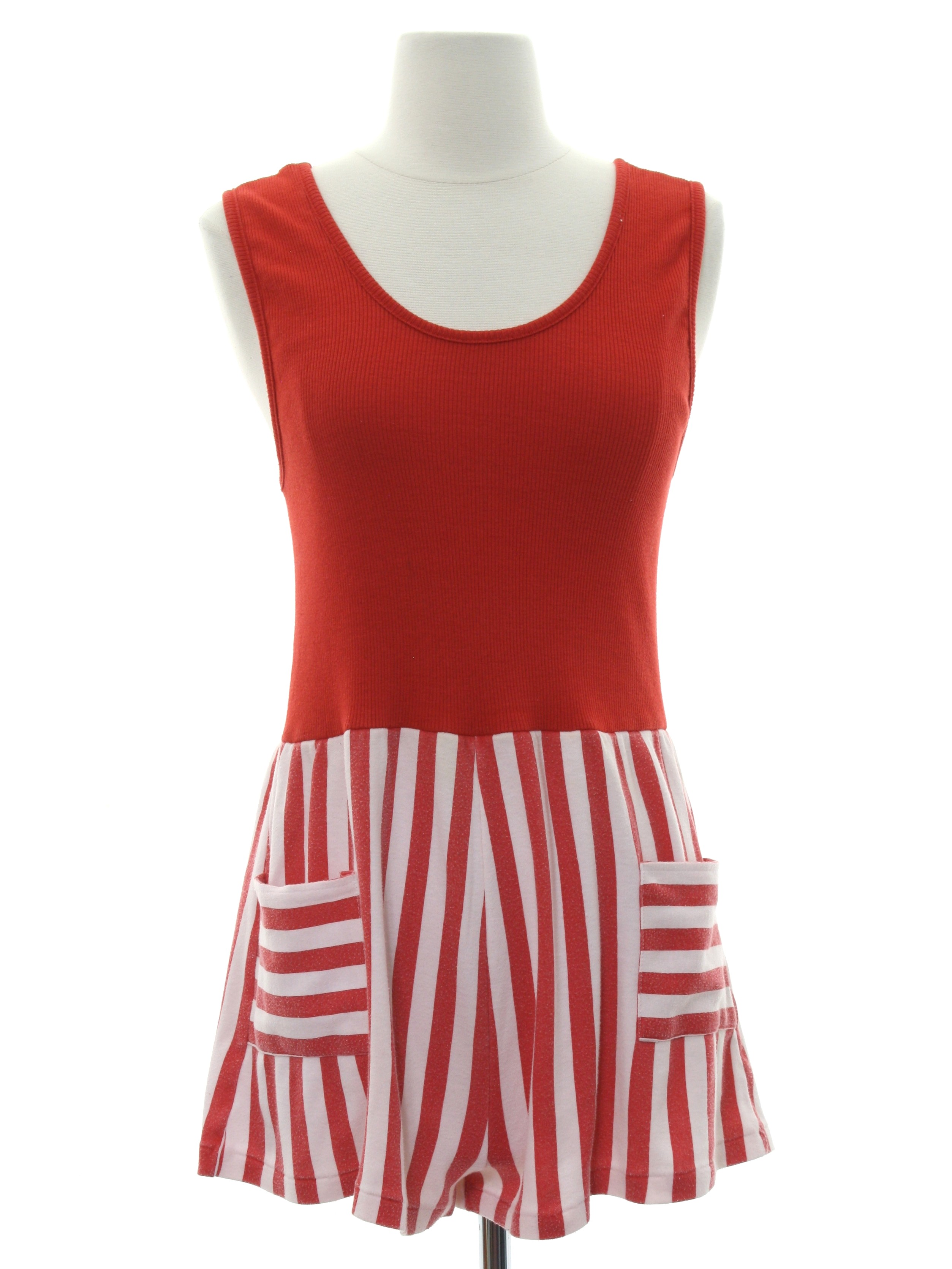 0c01cc34bbb1 80 s Vintage Suit  80s -Holly N Polly- Womens red and white background  cotton polyester jersey sleeveless