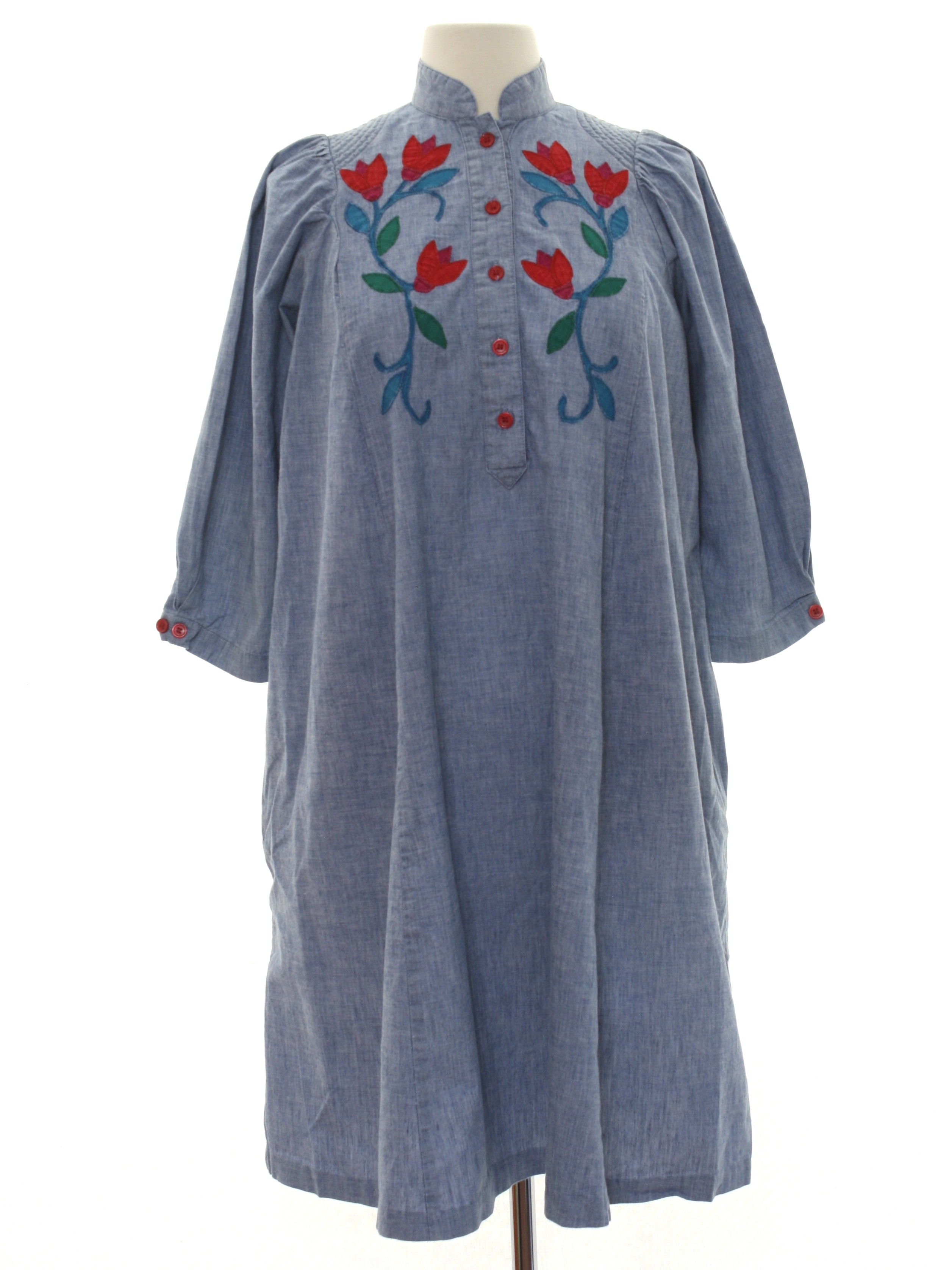 8f8f48dadf3 1980 s Retro Hippie Dress  70s style (made in 80s) -Salamander- Womens  chambray blue background cotton button cuffs 3 4 length sleeve a-line mid  length ...