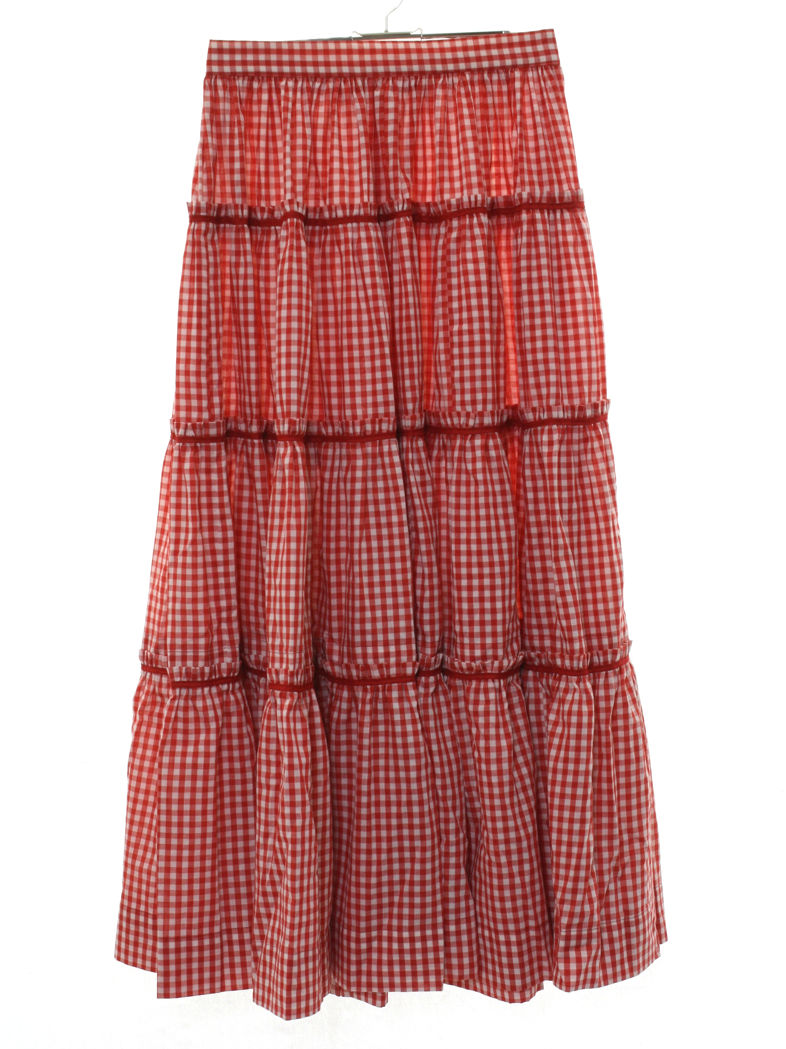 8b6ef638cc Vintage 1980's Hippie Skirt: 80s -home sewn- Womens red and white polyester  cotton blend maxi hippie skirt. Gingham checked print with bias banded and  ...