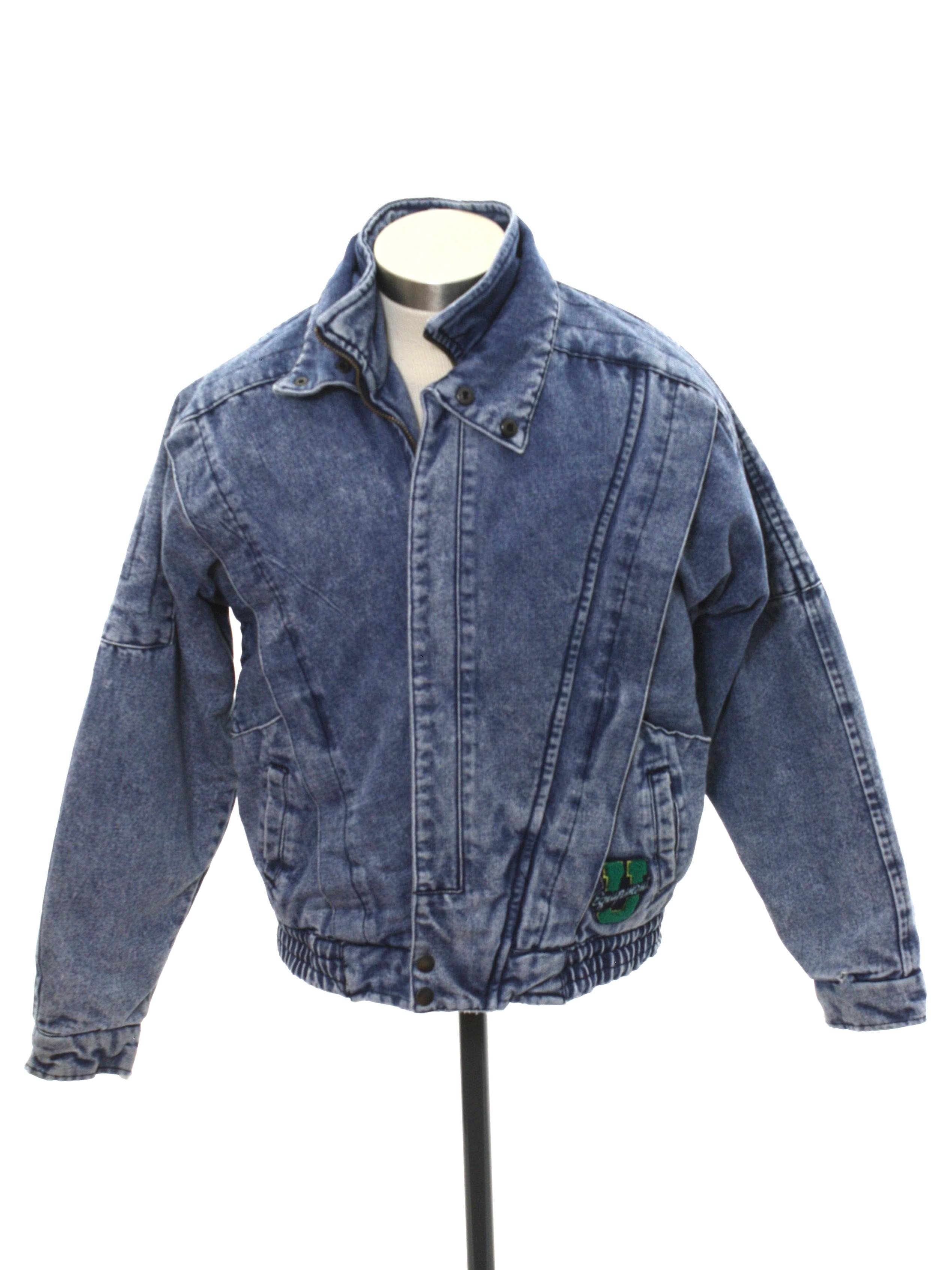 c9f9bc151 1980's Urban Equipment Mens or Boys Totally 80s Acid Washed Denim Jacket