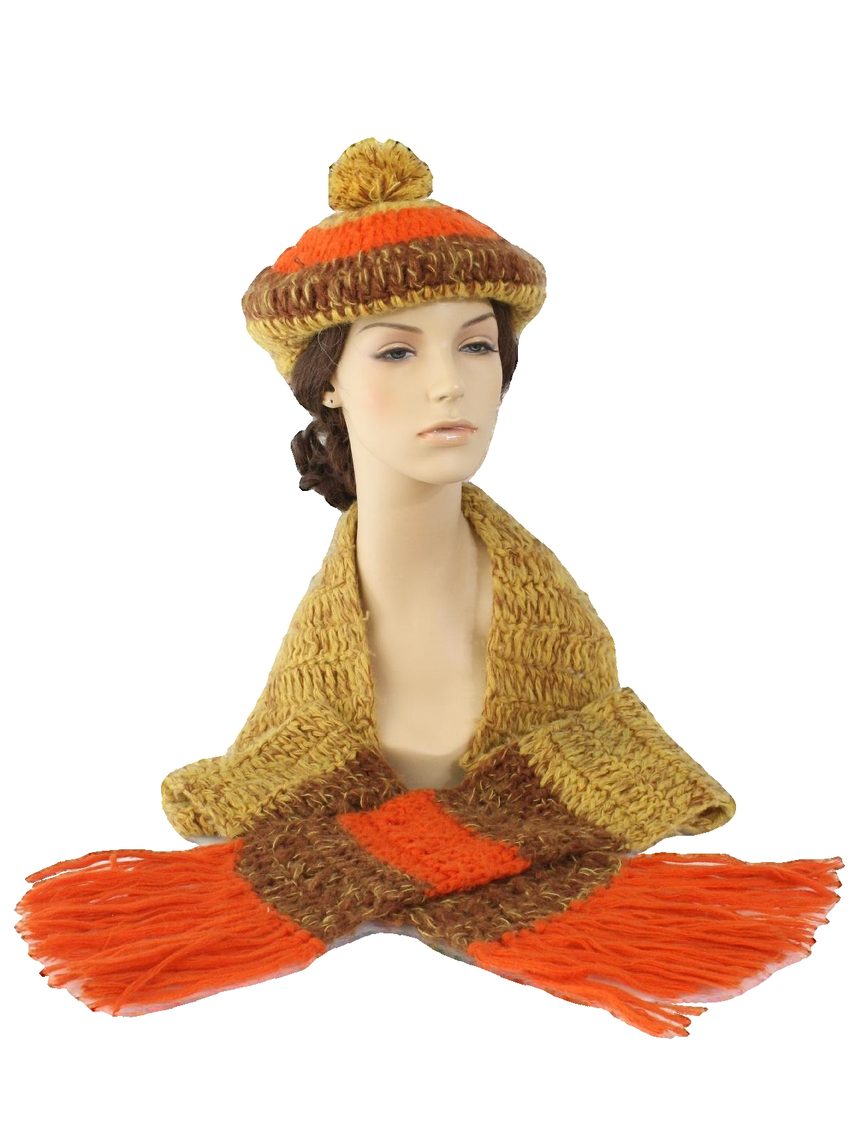 1960's Sally Gee Womens Mod Knit Hat And Scarf Set
