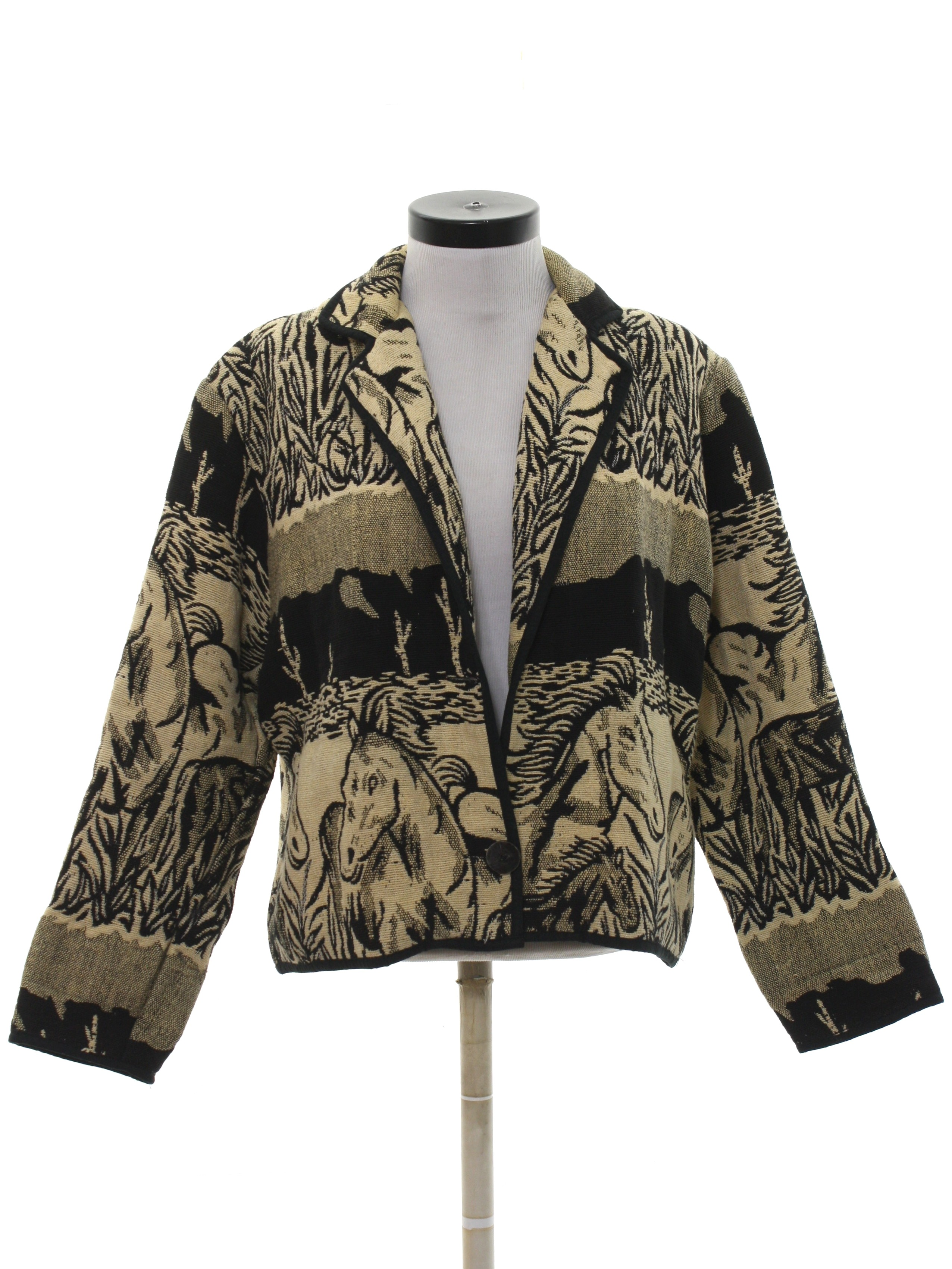 8d34c8bdbcc Vintage New Identity 1980s Jacket  80s -New Identity- Womens black and  cream thick cotton tapestry cloth longsleeve 1 button front closure  equestrian style ...