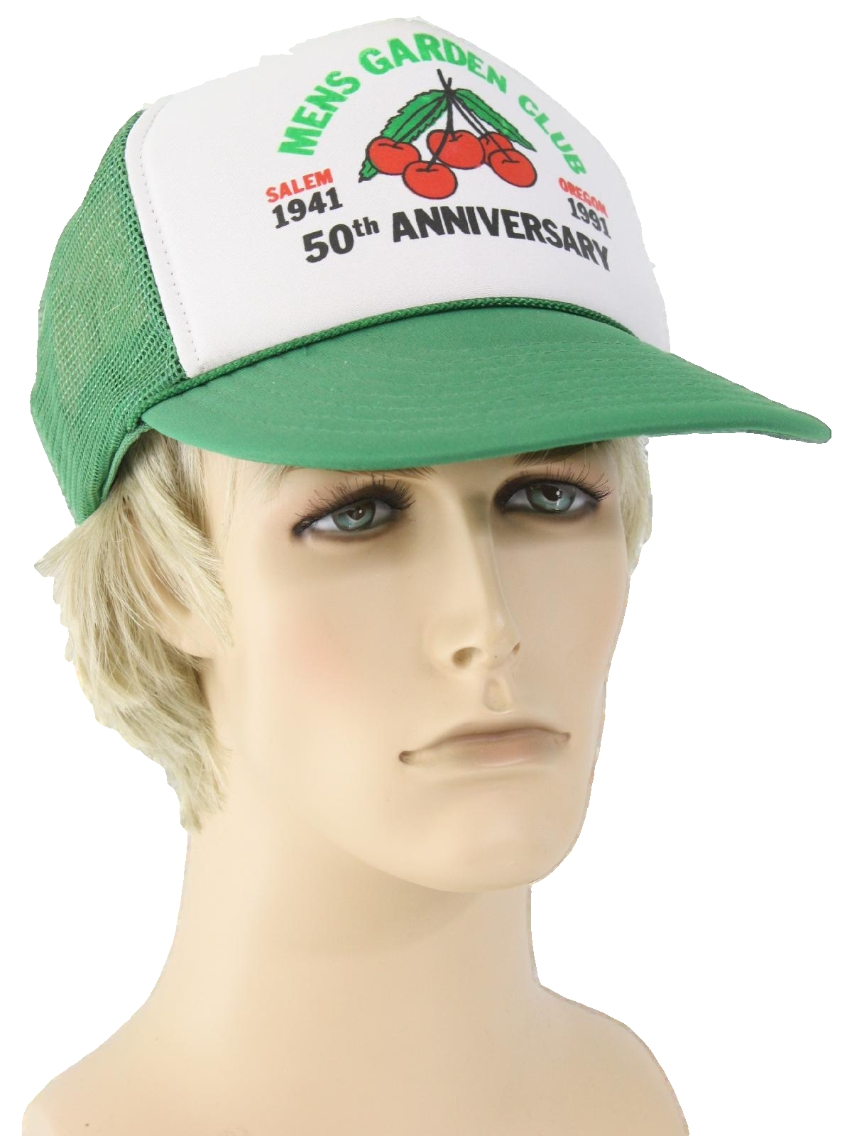 Vintage 1990 s Hat  90s -Nissin- Mens green and white background ... d1e8d31d977