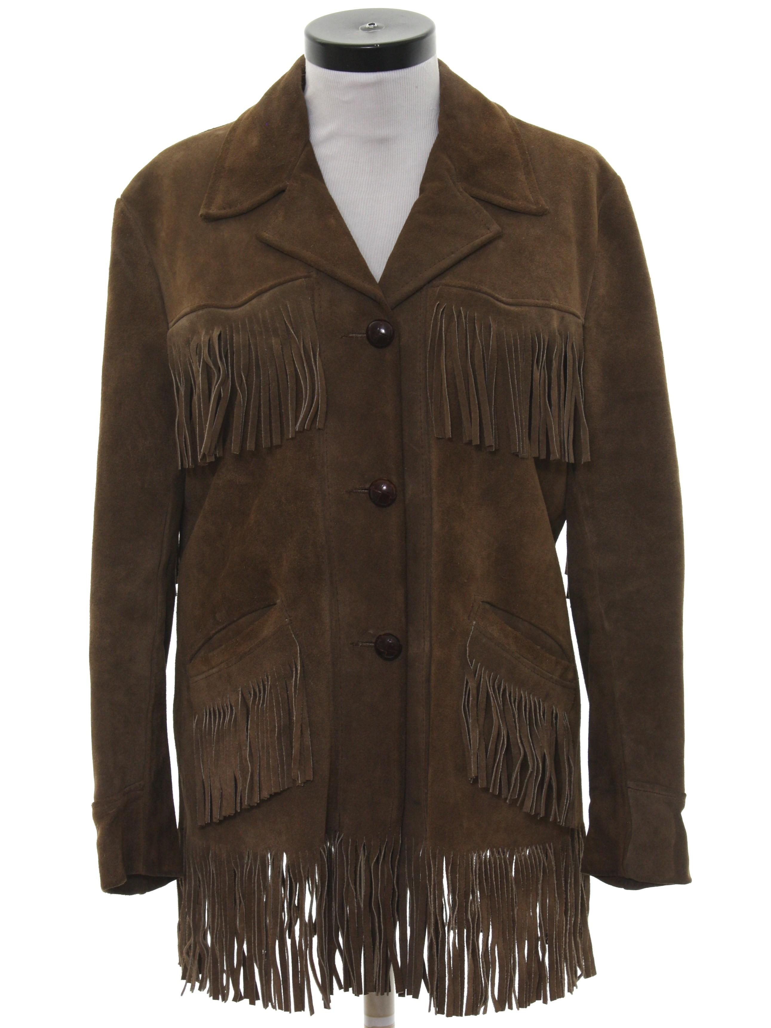 3dcbad641 1970's Sears Western Wear Womens Fringed Hippie Western Suede Leather Jacket