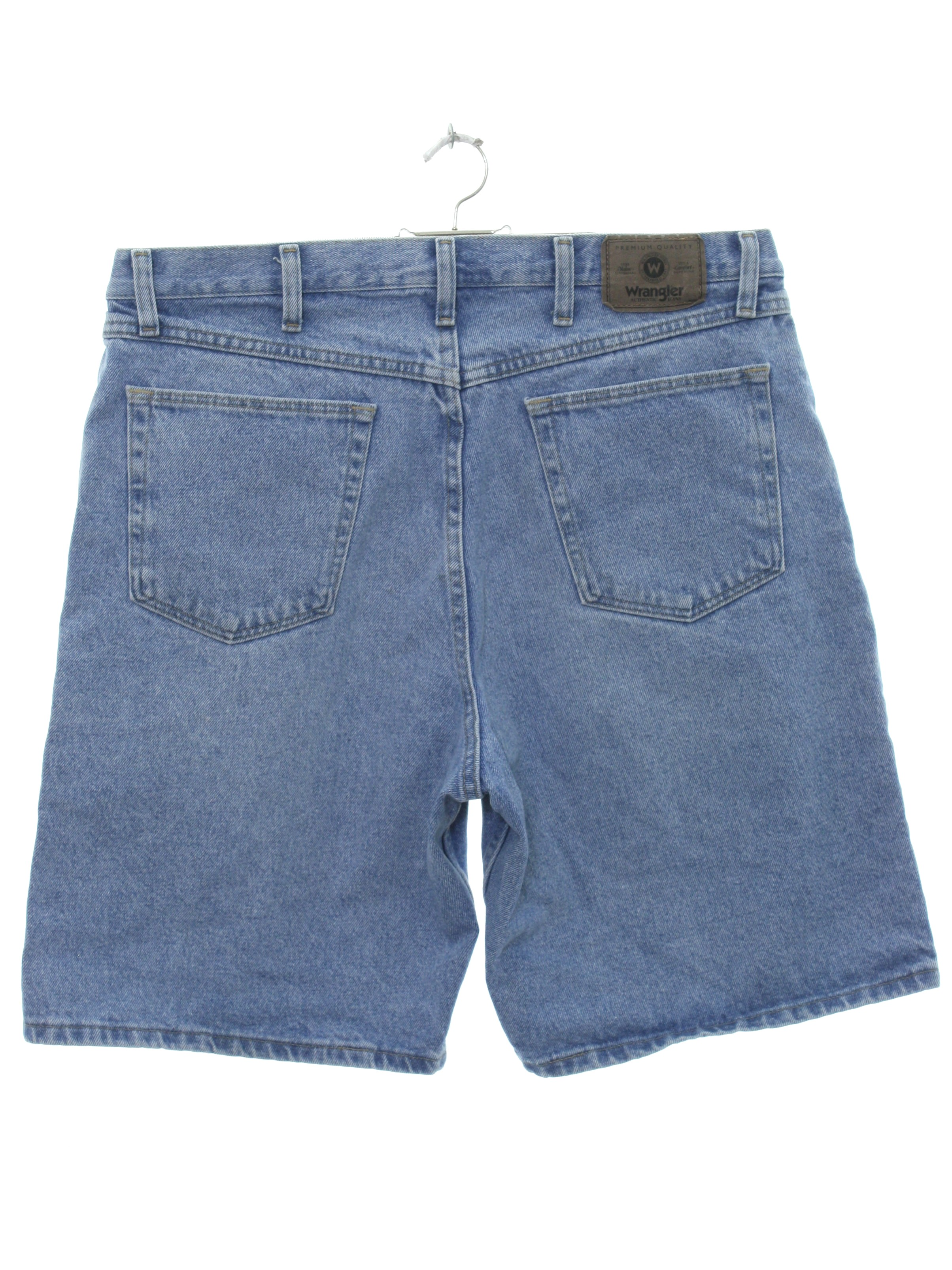 86e0e3967f Vintage 90s Shorts: 90s -Wrangler- Mens light wash blue cotton denim shorts.  Standard 5 pocket style. Features paper -Wrangler- tag on the back of the  ...