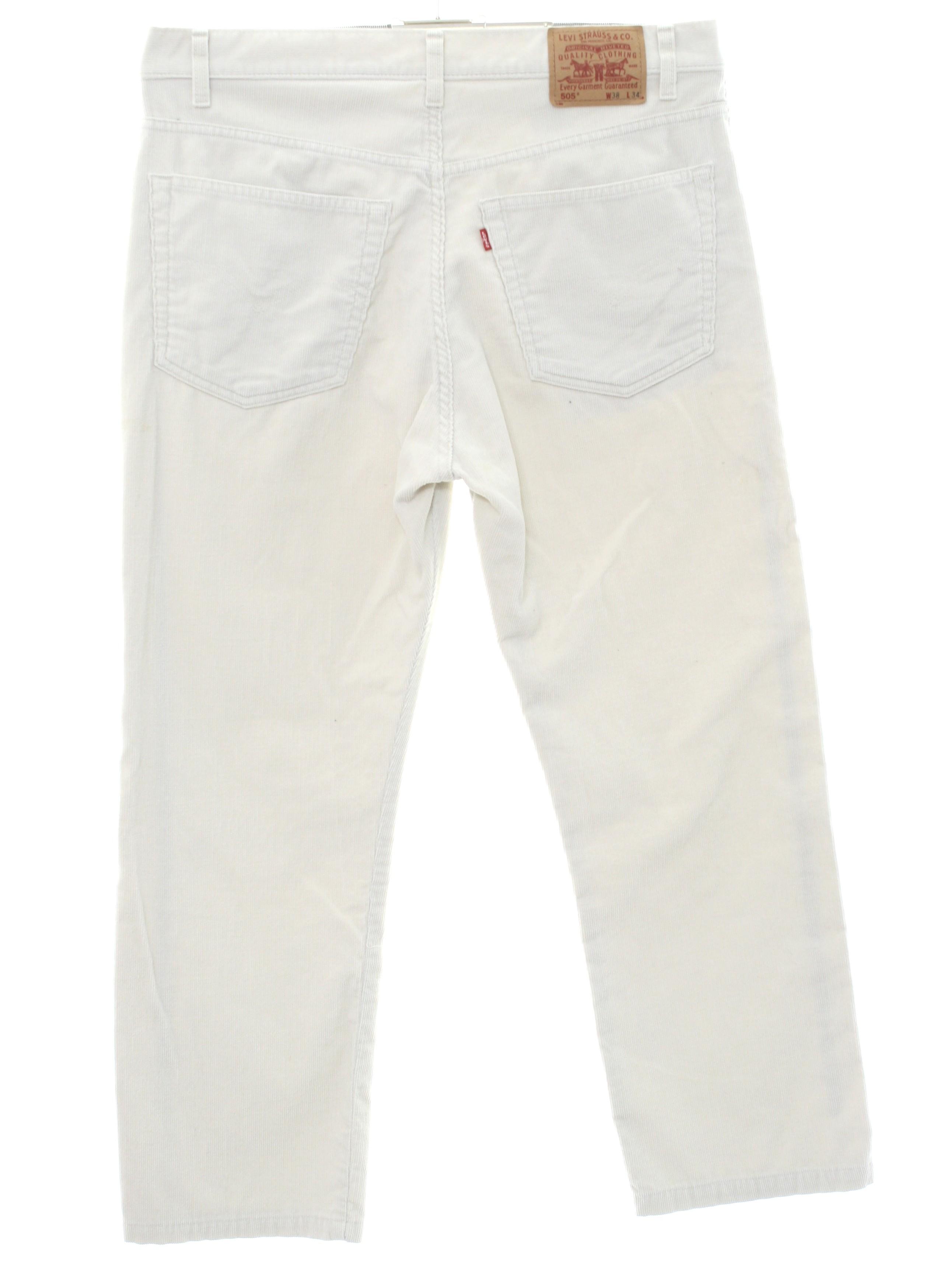 cc75c3b377 1990's Retro Pants: 90s -Levis 505- Mens off white solid colored ...