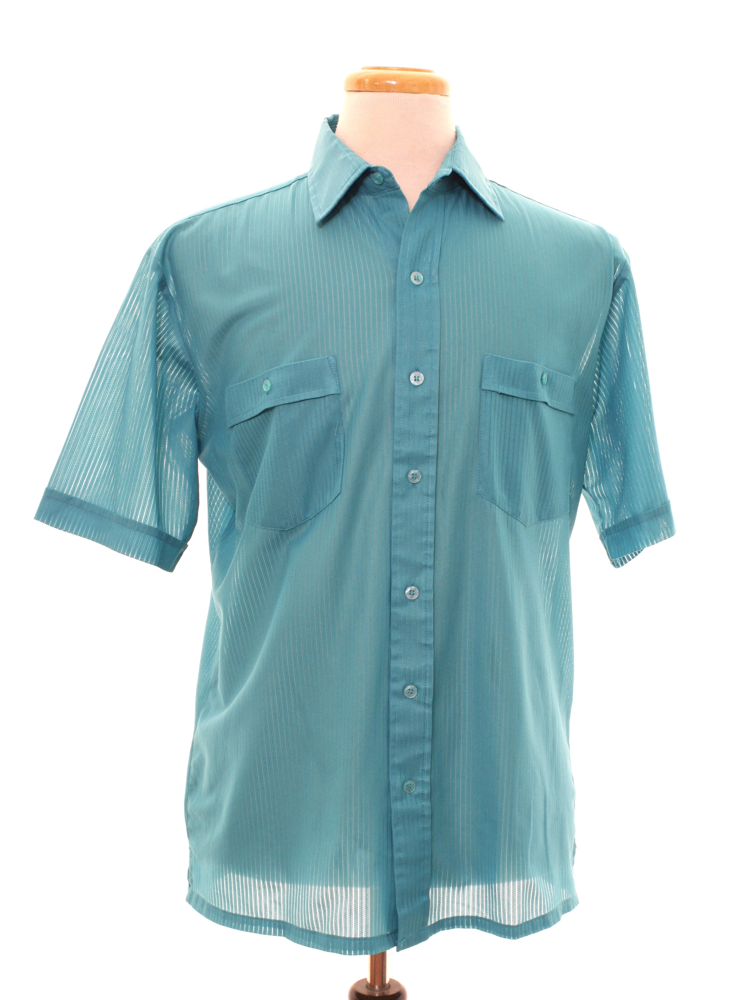 Shirt Made In Late 90s Main Stream Mens Emerald Teal Polyester