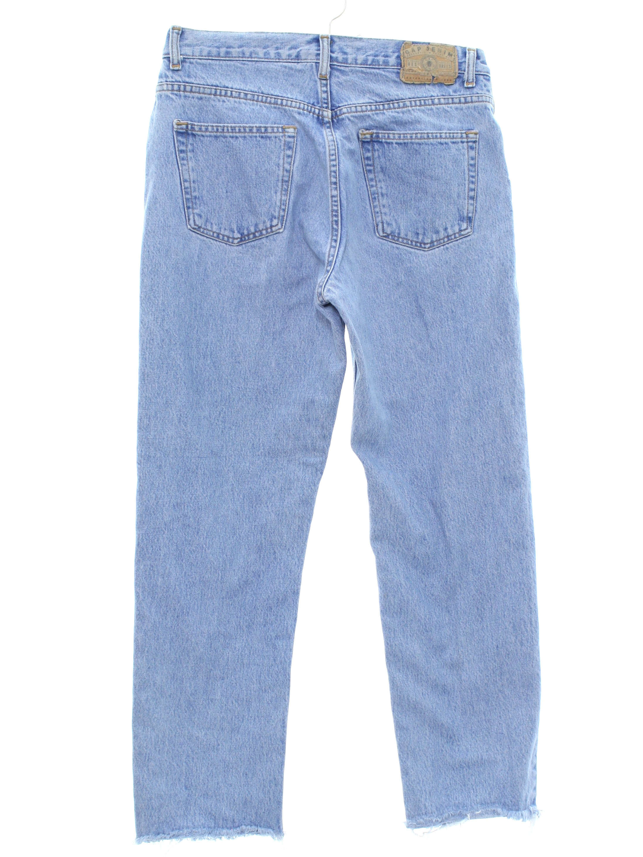 baby togs wide leg jeans 80s eighties 90s nineties style 4T retro vtg vintage pants pockets blue soft girls high rise seams trendy