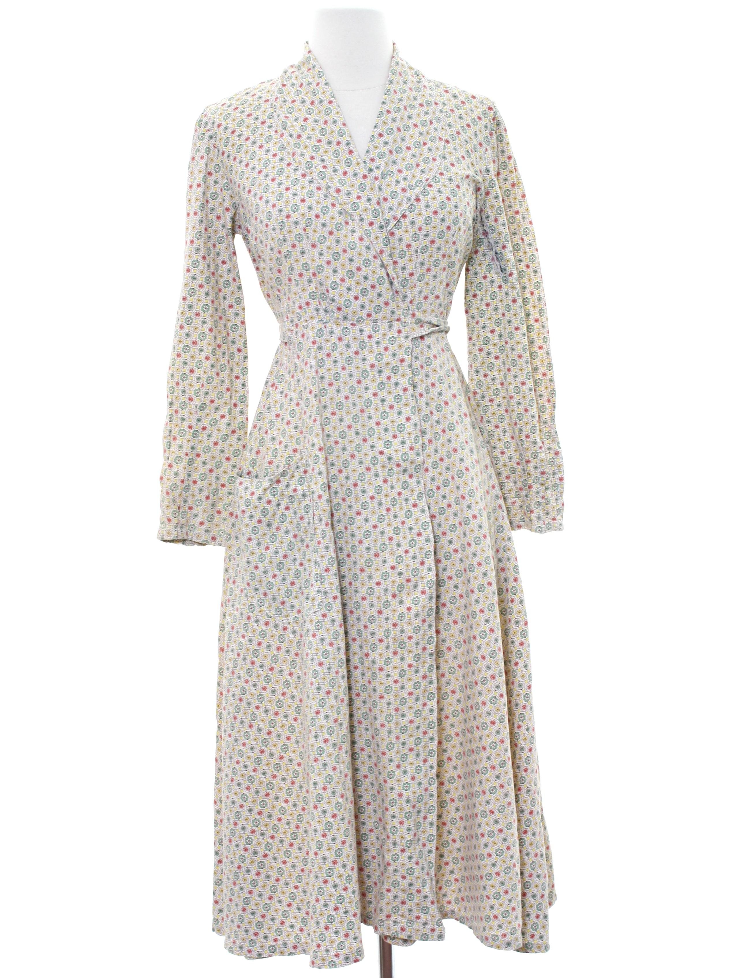 f316180494cfb Vintage home sewn 50 s Womens Robe  50s -home sewn- Womens white background  cotton classic style long sleeve calf length robe or house coat with wrap  front ...