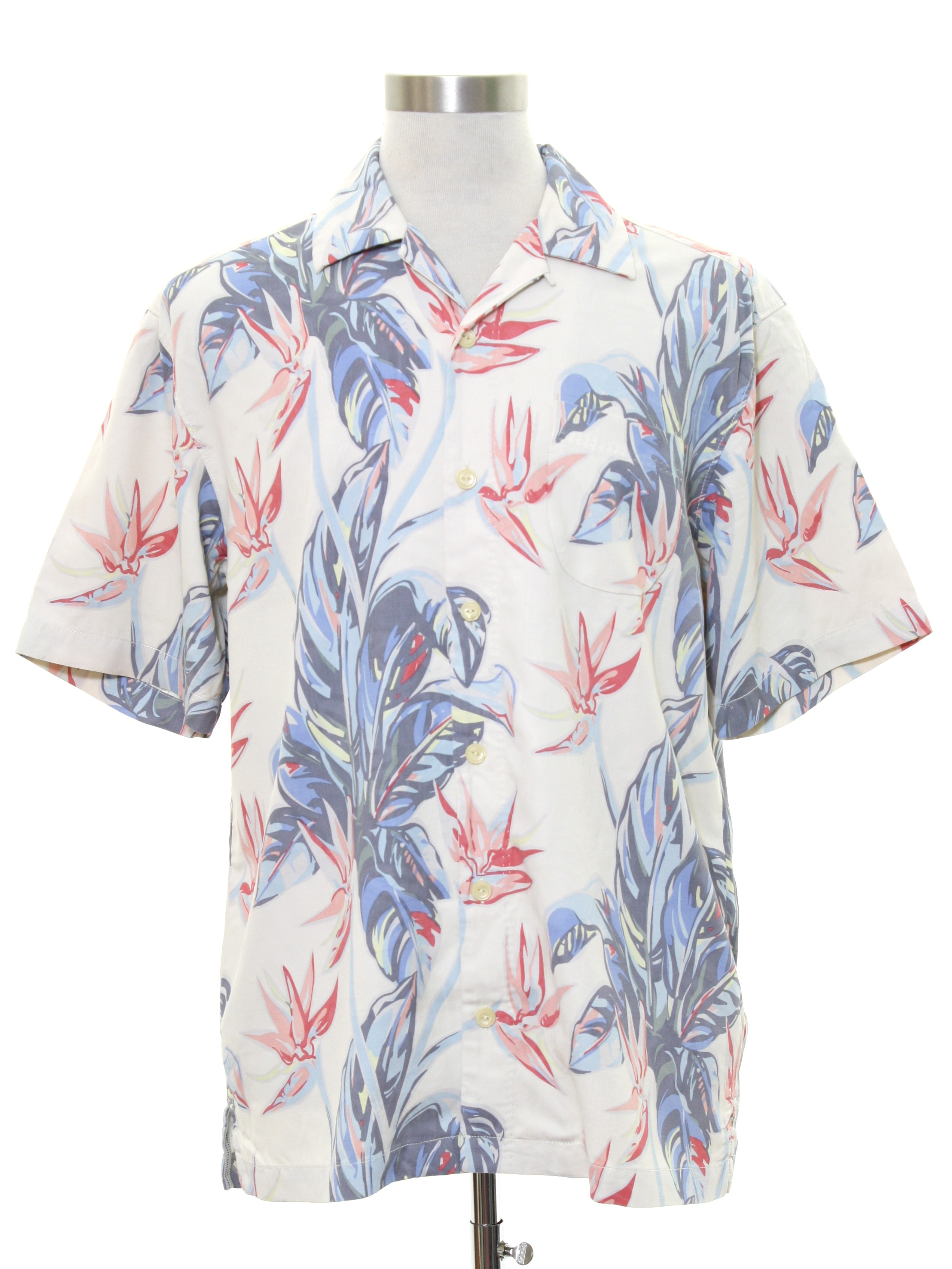 5bccb318 Hawaiian Shirt: 90s -Tommy Bahama- Mens winter white background silk short  sleeve hawaiian shirt. Classic style in a large tropical floral and foliage  print ...