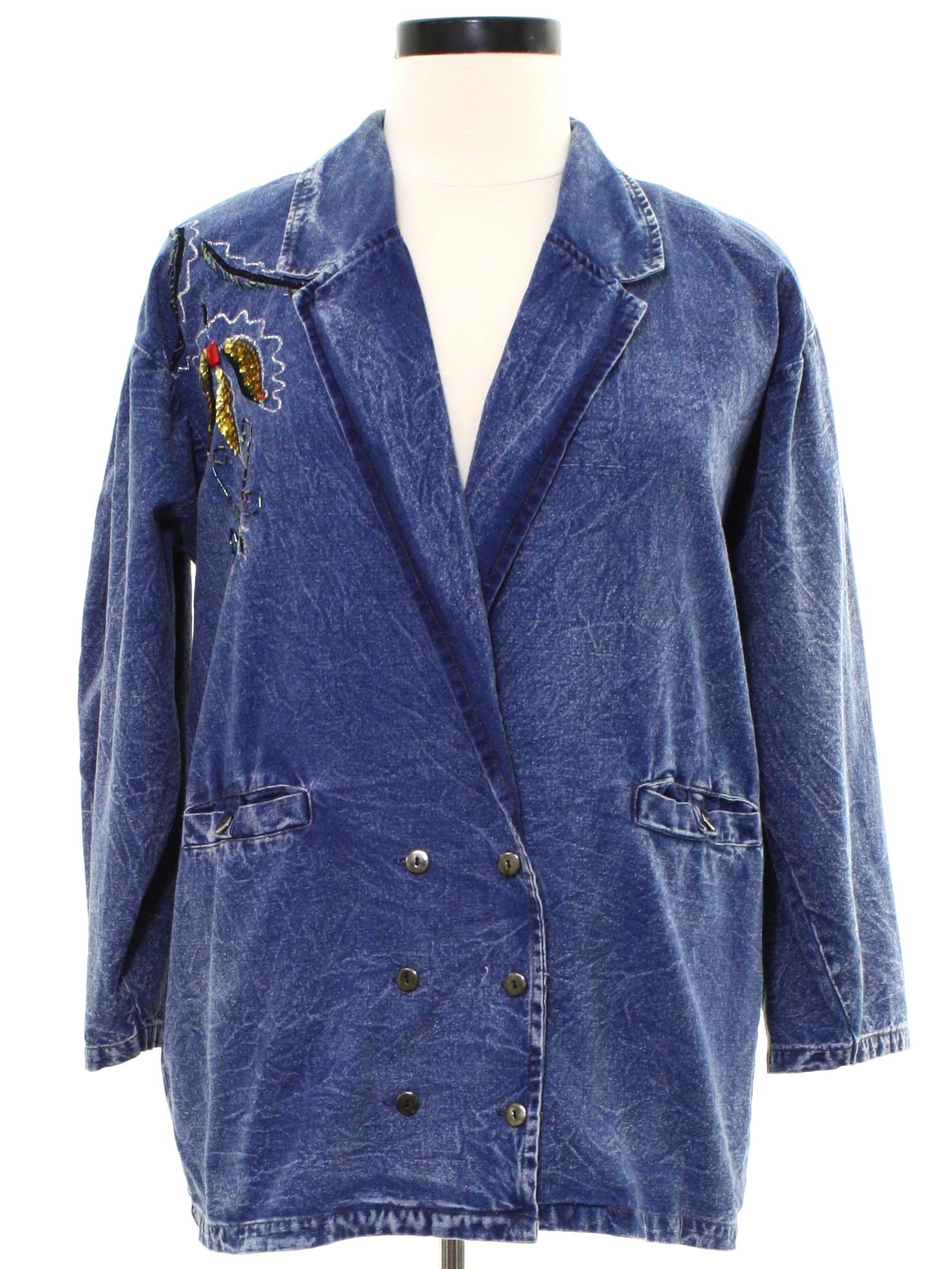 b6c8a552917cc Blue Sapphire 1980s Vintage Jacket  80s -Blue Sapphire- Womens hazy blue  stonewashed cotton denim longsleeve jacket. Ornate bead