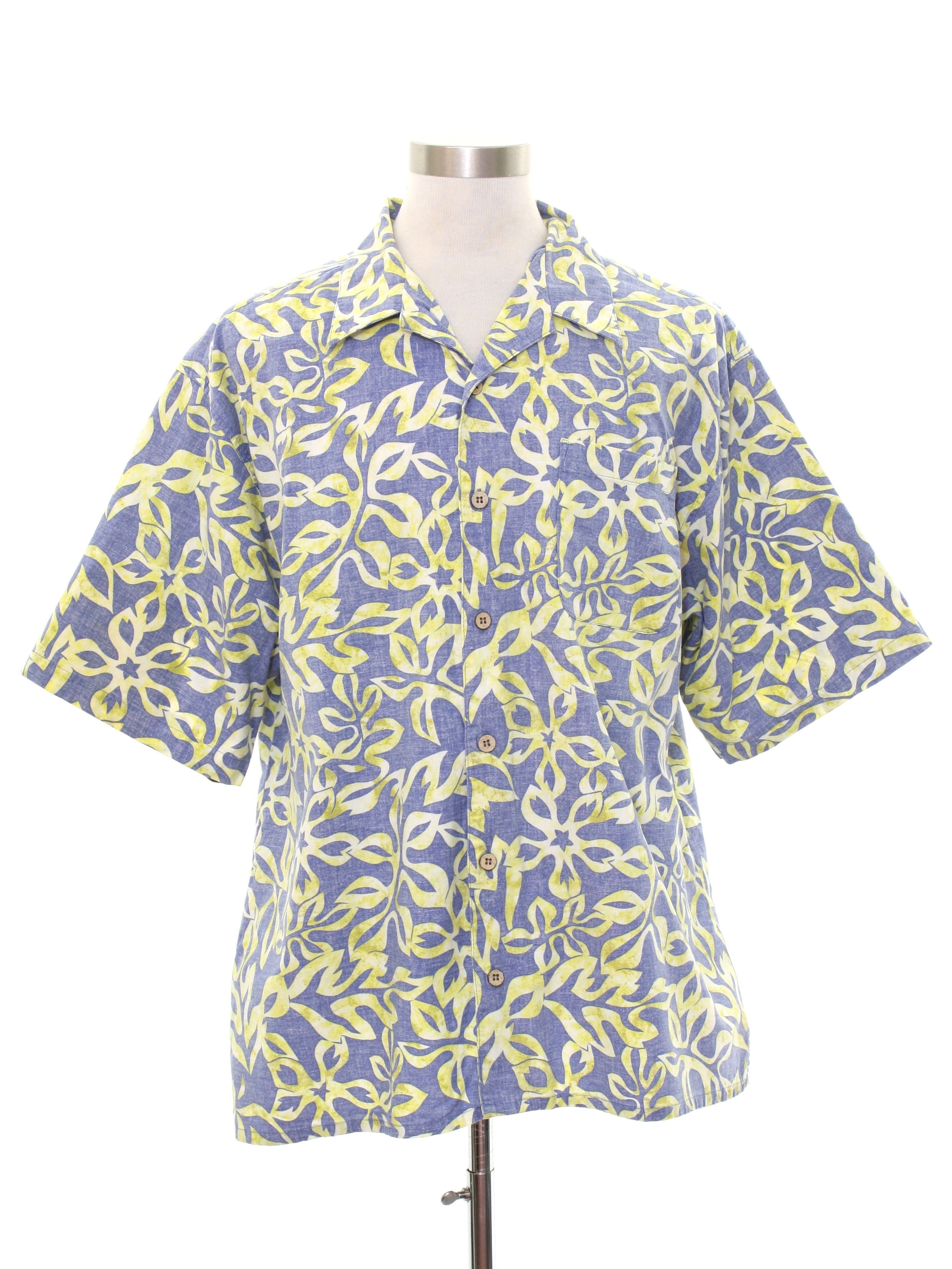 ef4b92d7 Hawaiian Shirt: 80s Style -OP- Mens muted blue background cotton ...