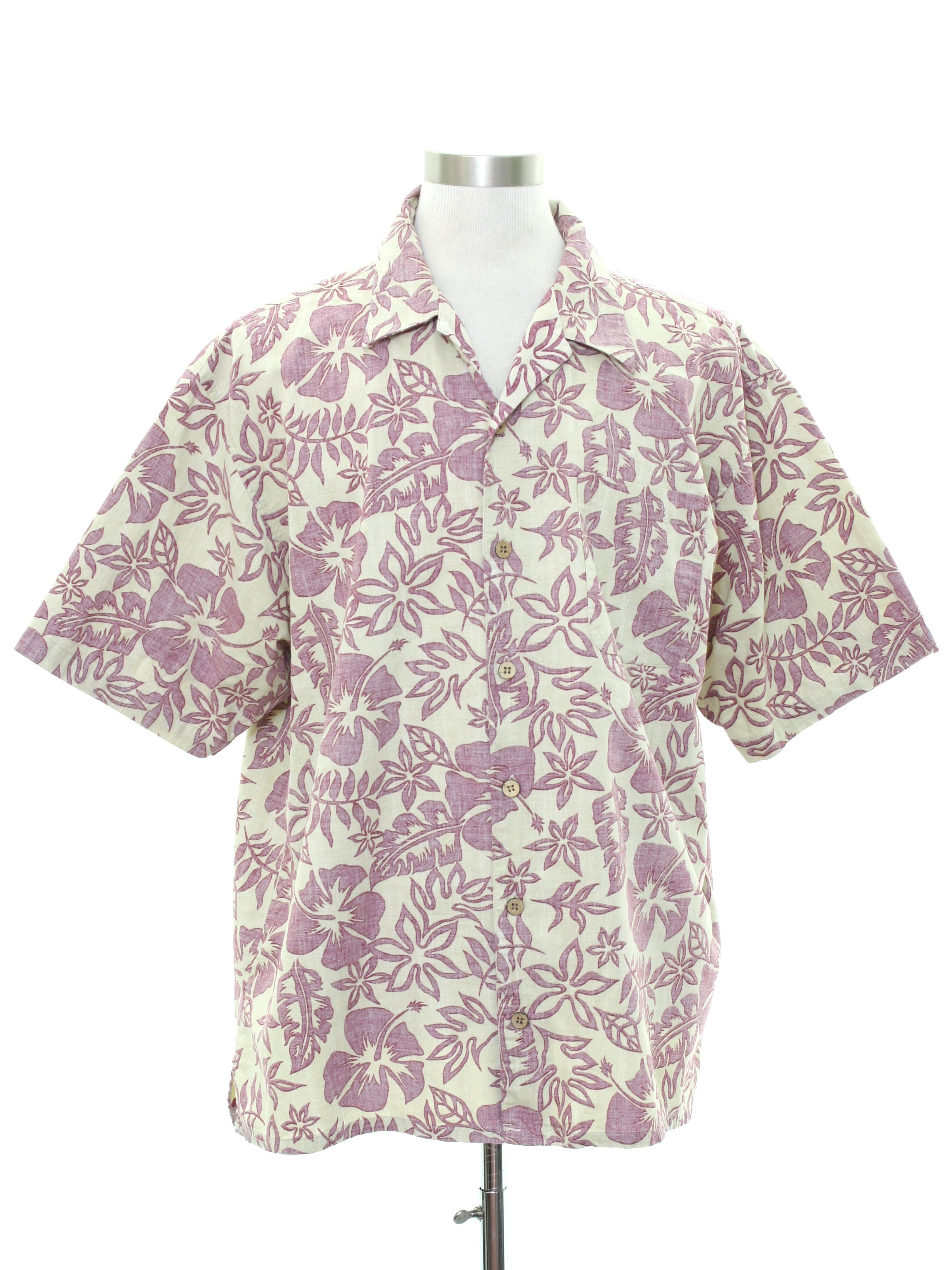 bf290d5b Hawaiian Shirt: -OP- Mens off white and muted pink background cotton ...