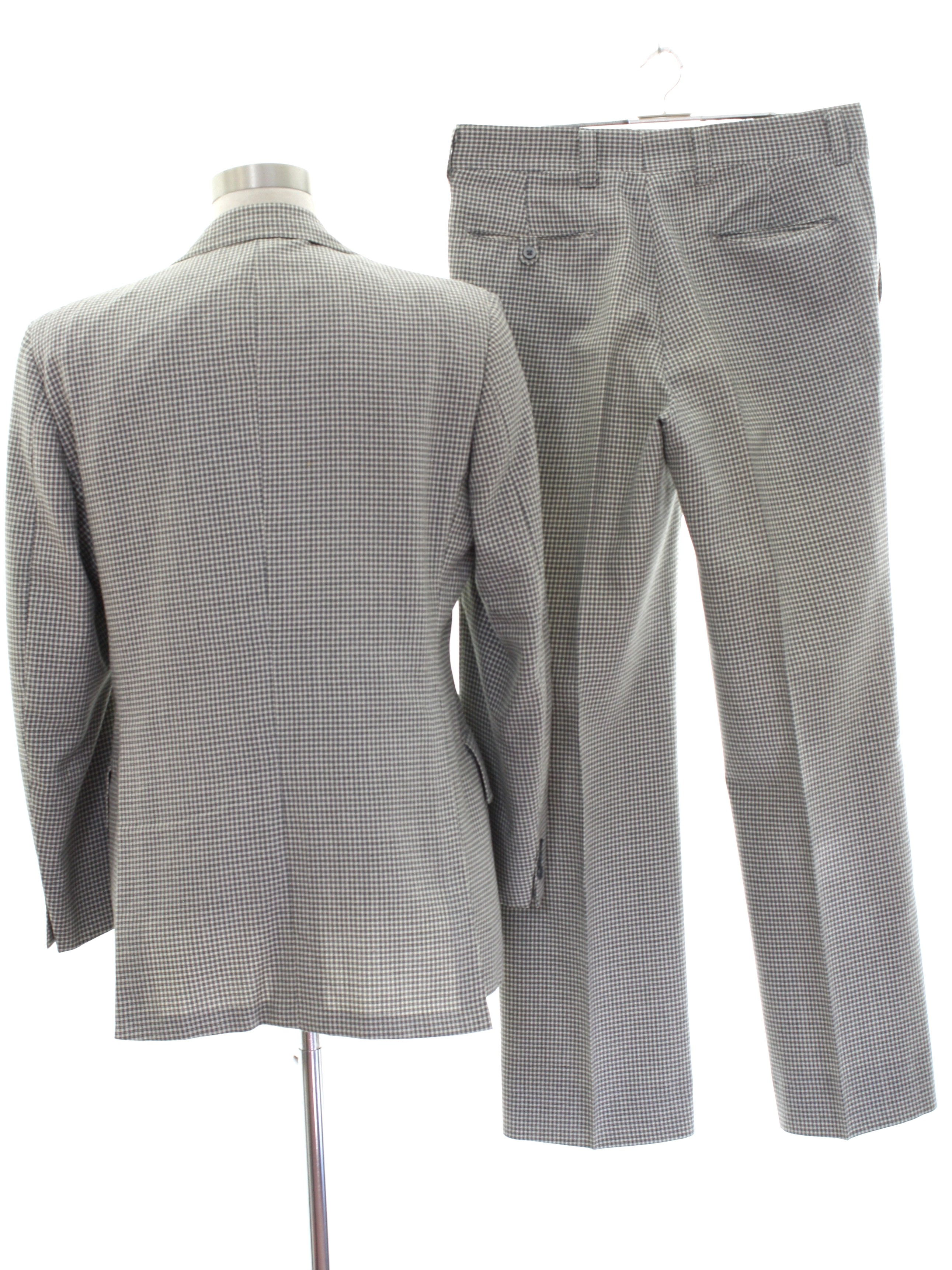 Retro 1960 S Suit Austin Reed Late 60s Or Early 70s Austin Reed Mens Grey Wool Suit With A Tiny Hounds Tooth Check Pattern Which Uses Charcoal To Outline On A White Background