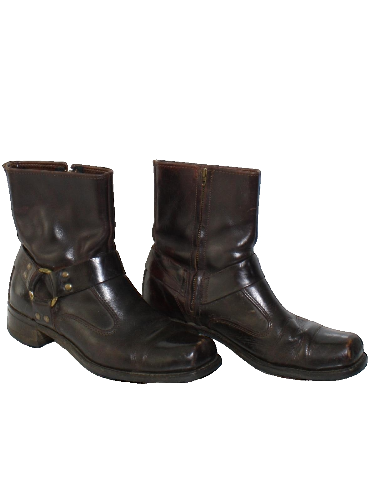 712bf3dfa0a3b 1970's Size Label Mens Mod Motorcycle Ankle Boots Shoes