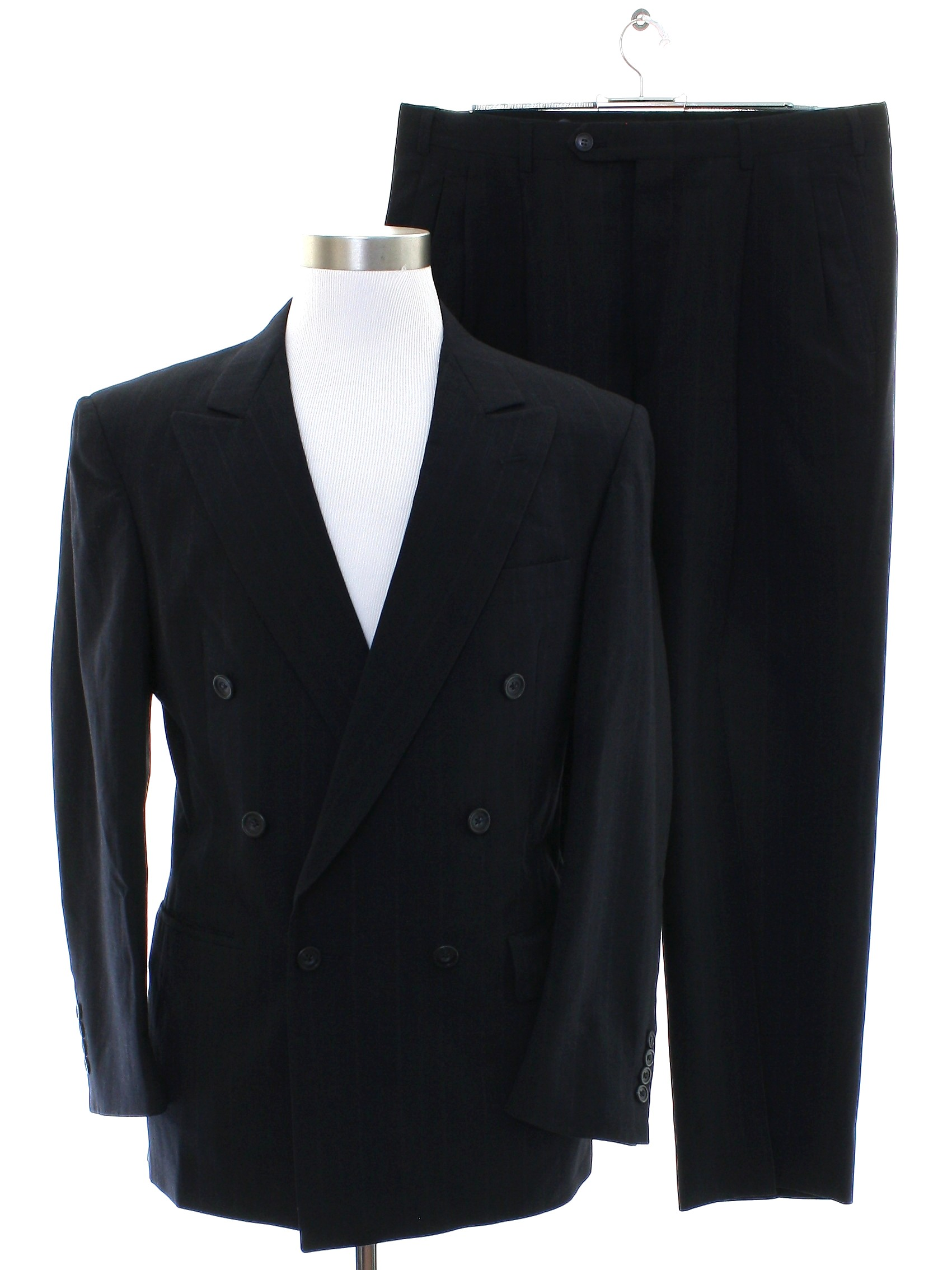 80s Vintage Austin Reed Of Regent Street Suit 80s Austin Reed Of Regent Street Mens Two Piece Totally 80s Swing Style Suit With Black Background Gray Blue Pinstriped Wool Poplin Jacket With