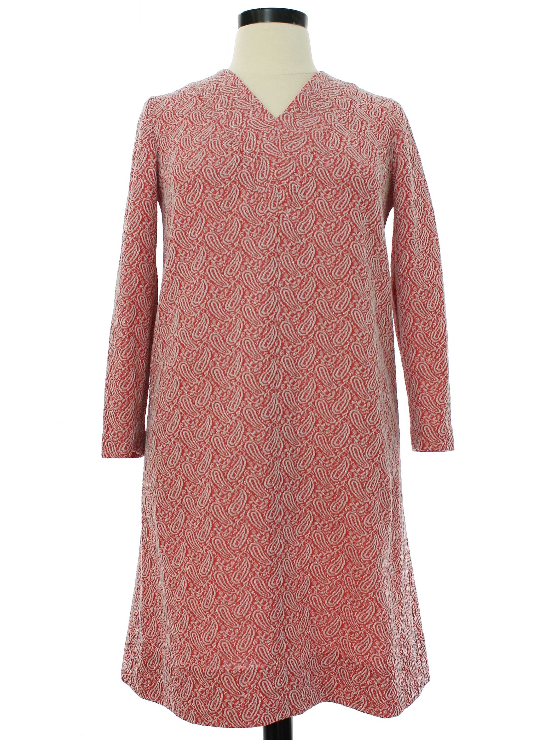 Handmade Pink Pull Over Button Bodice Cap Sleeve Dress Zippered Back Sz ML Mid Century Mod Stay At Home Worker Urban Suburb Mad Men Retro