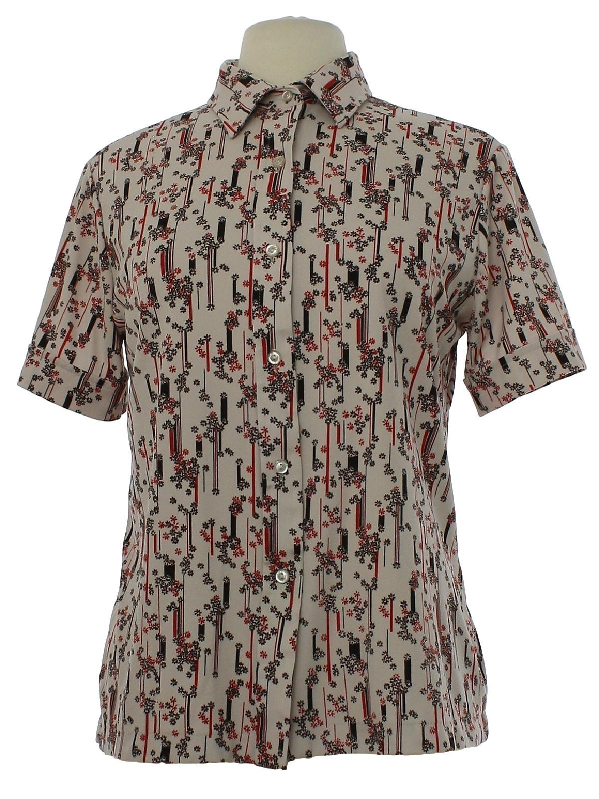 Vintage 1970\u2019s retro pattern mint green /& brown floral plaid mixed pattern blouse button front shirt Women\u2019s S Nylon knit