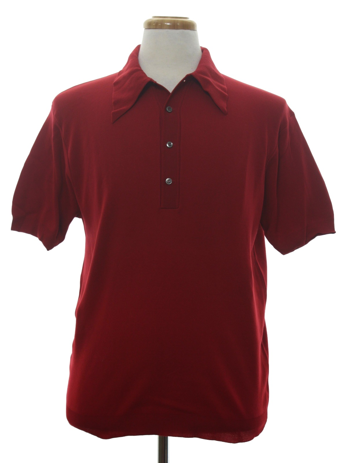 1970 39 s retro knit shirt 70s no label mens red wine for No button polo shirts