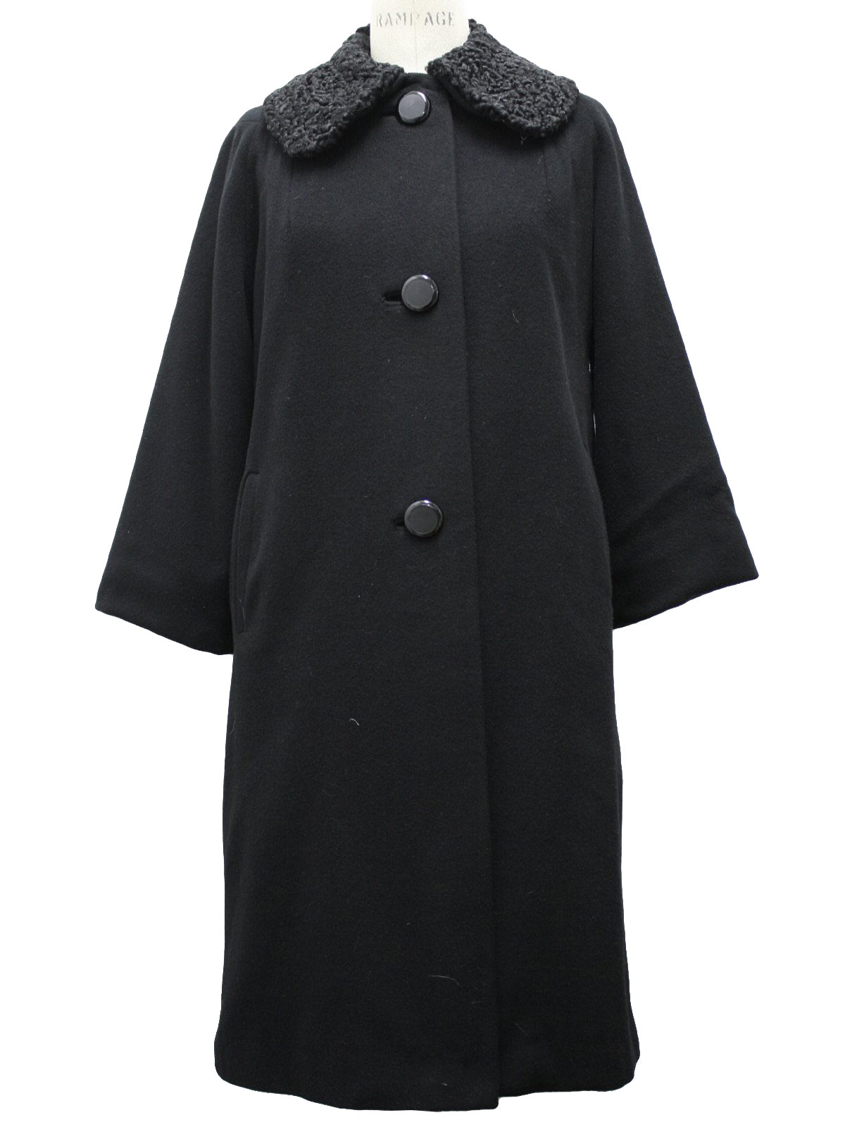 1960 S Jacket Exclusive Quality 60s Exclusive Quality Womens Black Cashmere Coat With A Black Persian Lambs Wool Collar There Are Three