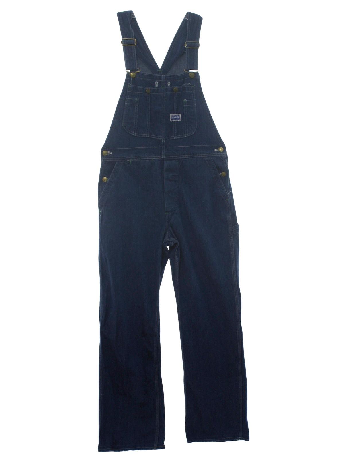 1990's Retro Overalls: 90s -Big Smith- poly/cotton mens dark blue ...