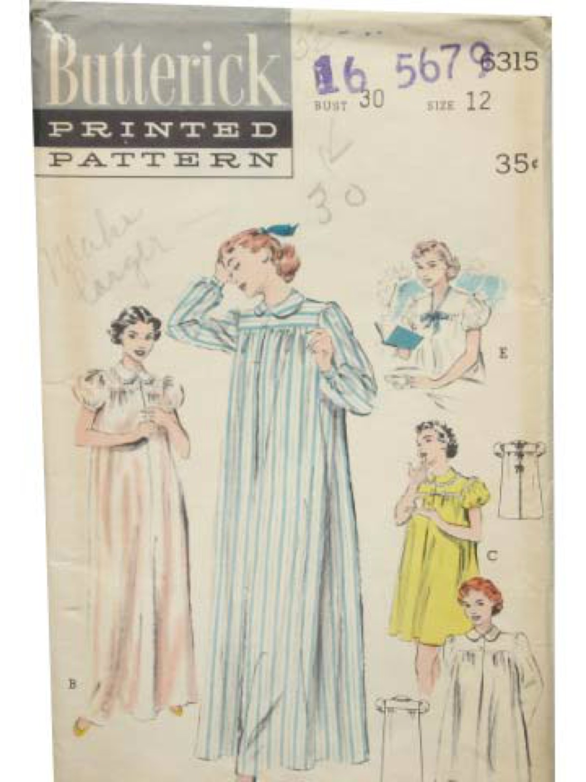 Retro Fifties Sewing Pattern: 50s -Butterick Pattern No. 6315 ...