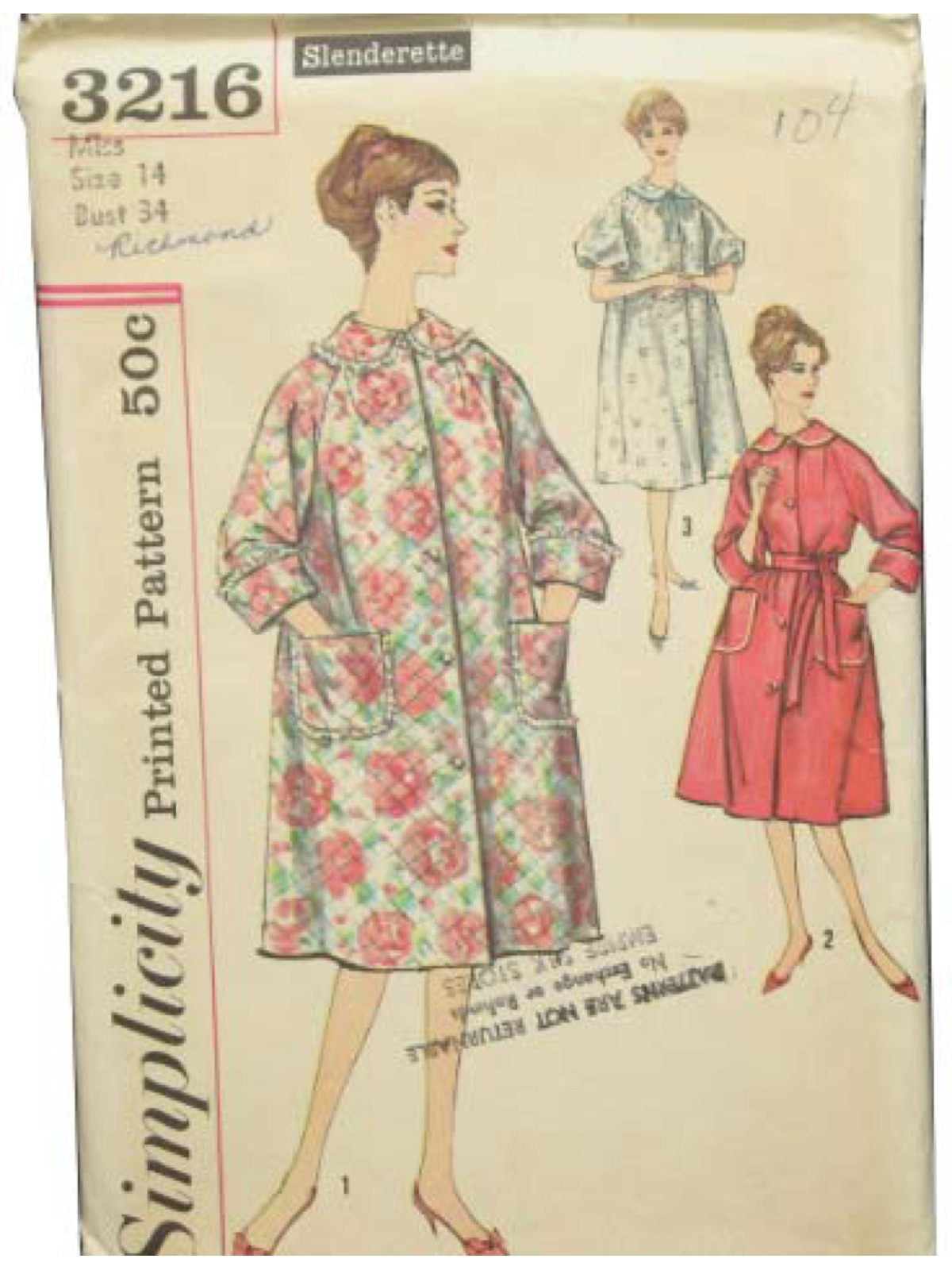Fifties Sewing Pattern: 50s -Simplicity Pattern No. 3216- Misses ...