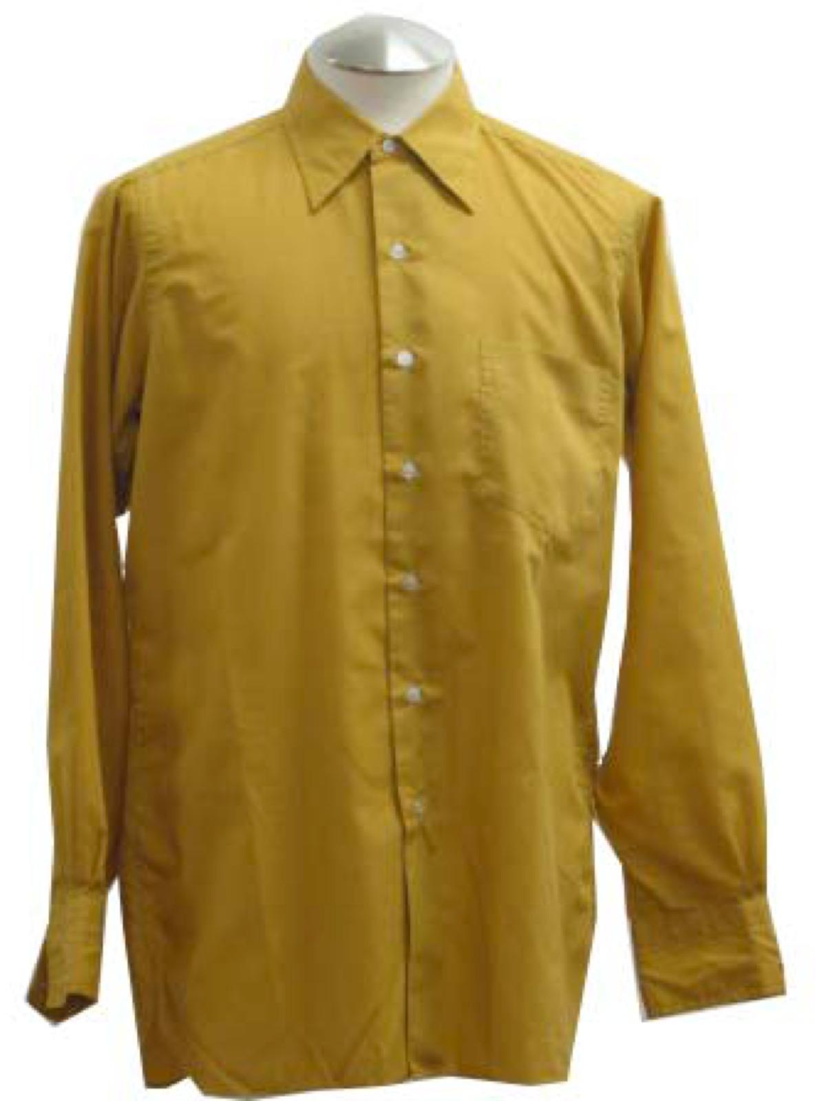 70s Treskes Shirt 70s Treskes Mens Gold Polyester Cotton