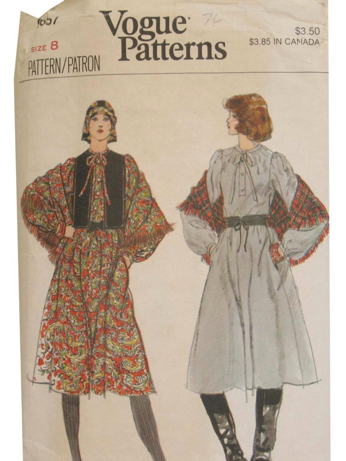 Retro Seventies Sewing Pattern 70s Vogue Pattern No