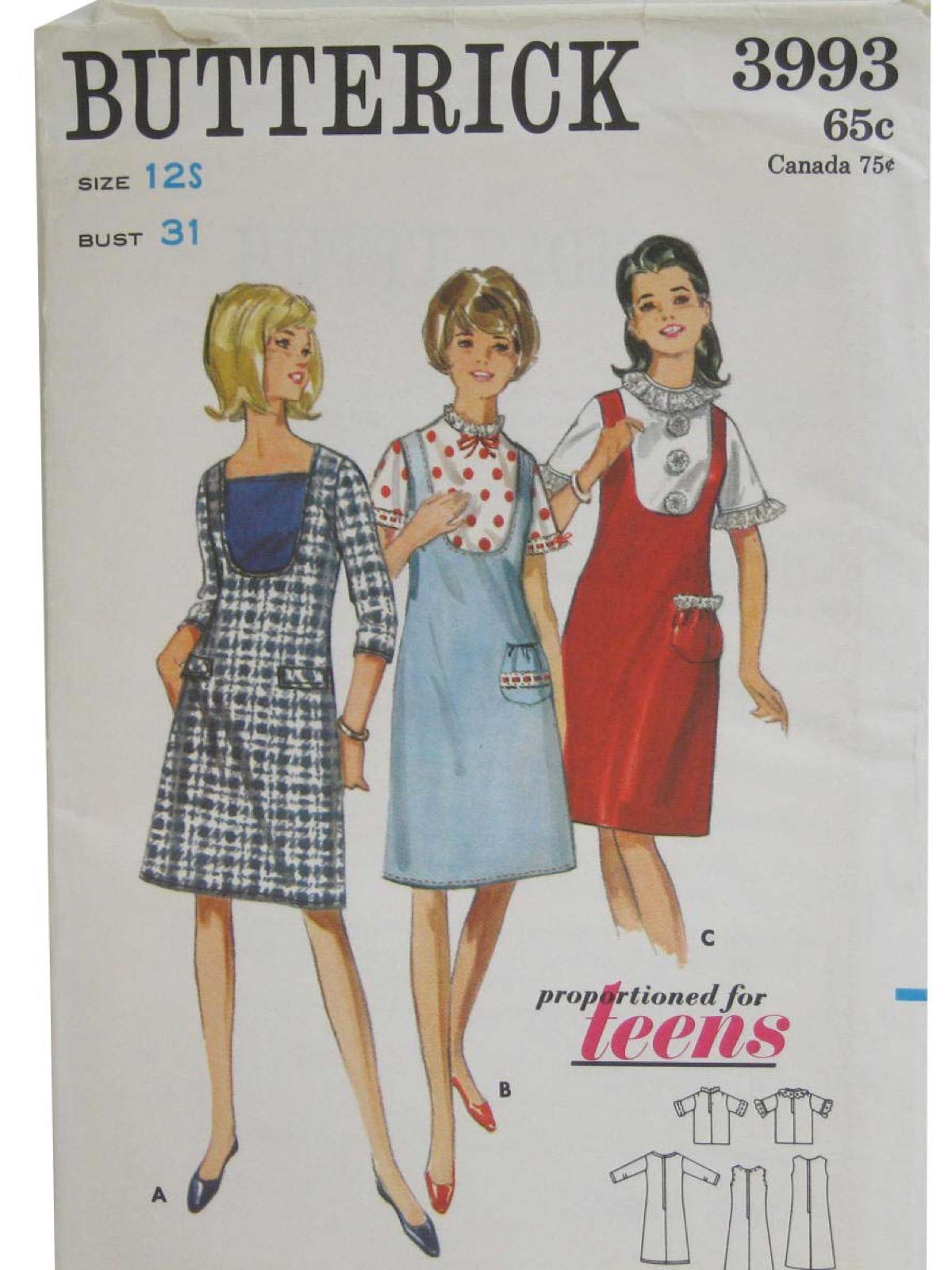 da4650adce44 1960 s Vintage Butterick Pattern No. 3993 Sewing Pattern  60s ...