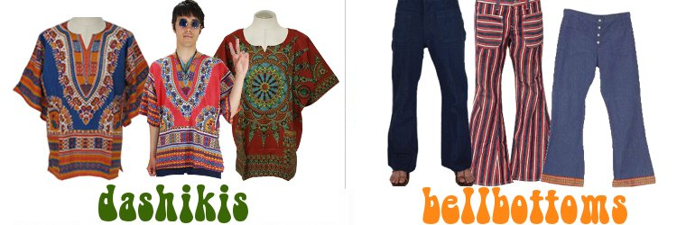 Dashiki Shirts, Bellbottom Pants