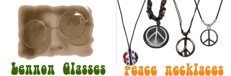 John Lennon Glasses & Hippie Peace Necklaces