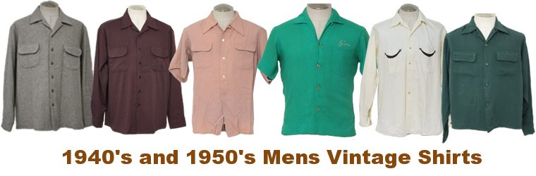 1940s & 1950s Vintage Mens Shirts