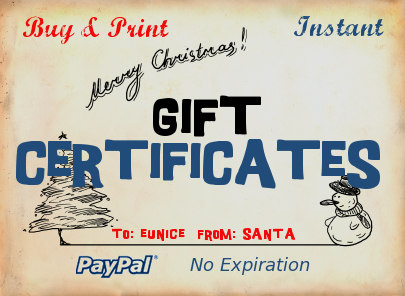 Gift Certificates at RustyZipper.Com
