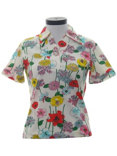 1980's Womens Knit Floral Print Shirt