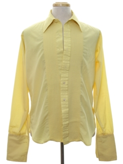1970's Mens Pleated French Cuff Tuxedo Shirt