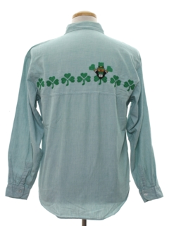 1980's Mens Embroidered St Patricks Day Shirt