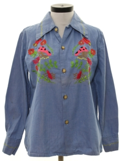 1970's Womens Chambray Embroidered Hippie Shirt