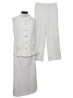 1970's Womens Knit Skirt and Shirt Suit