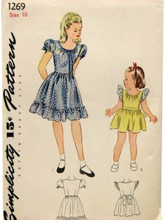 1940's Womens/Childs Dress  Pattern
