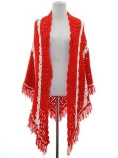 1970's Womens Crocheted Shawl Sweater