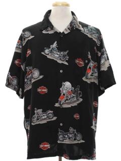 1990's Mens Harley Davidson Silk Sport Shirt