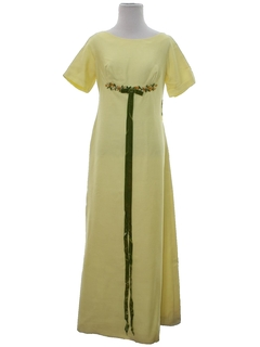 1960's Womens Empire Waist Maxi Prom or Cocktail Dress