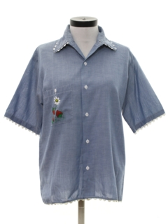 1970's Womens Hand Painted Chambray Hippie Shirt