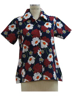 1970's Womens Mod Print Pow Flower Shirt