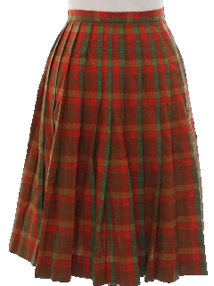 1960's Womens Wool Plaid Skirt