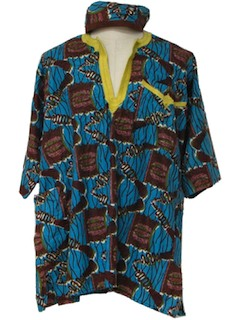 1980's  Mens Ethnic Shirt and Hat