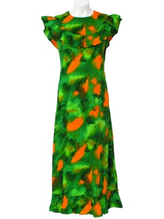 1960's Womens Hawaiian Hippie Maxi Dress